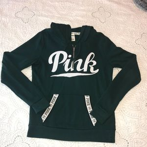 """Forest green """"PINK"""" sweater size medium"""